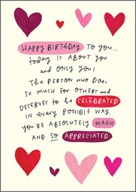 Happy News Birthday Greeting Card - Hearts