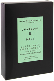 Organik Botanik Charcoal & Mint Black Salt Body Scrub (3x40g)
