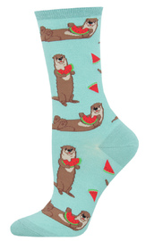 Socksmith: Women's Ottermelon Crew Socks - Sky Blue