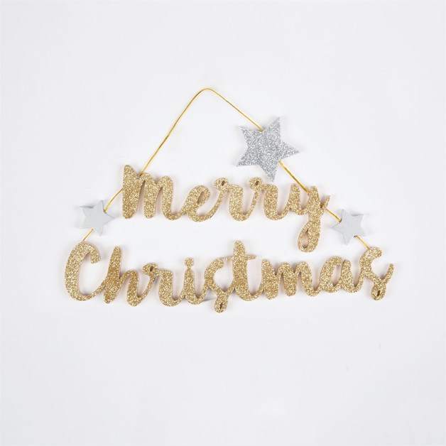 Gold Glitter Merry Christmas Hanging Decoration