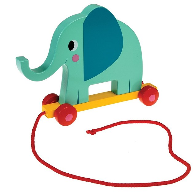 Wooden Pull Toy - Elvis the Elephant