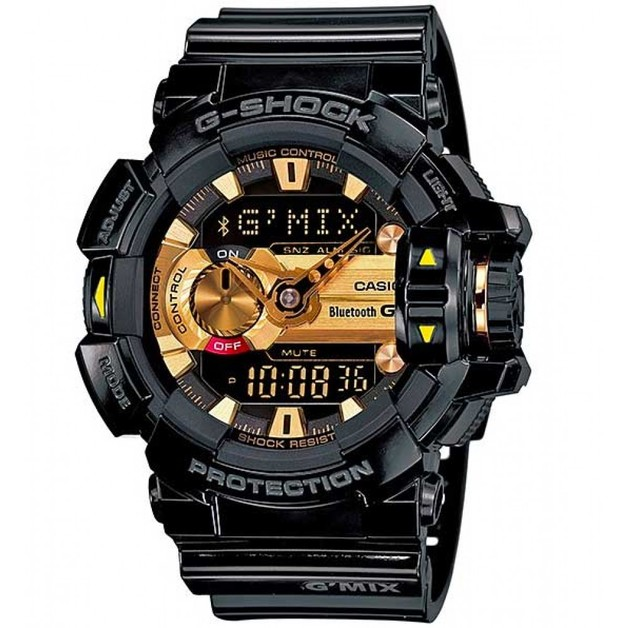 Casio G-Shock G'MIX Bluetooth Analogue/Digital Mens Black/Gold Watch GBA-400-1A9