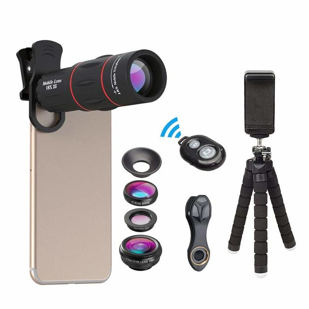 Apexel: Phone Photography Kit-Flexible Phone Tripod +Remote Shutter +4 in 1 Lens Kit