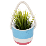 Small Hanging Plant Pot - Blue Atol And Calypso Pink