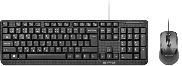 Promate Ergonomic Wired USB Mouse & Keyboard Combo