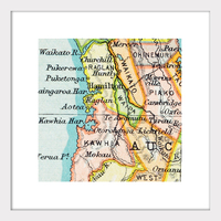 Waikato Vintage Map Print - Framed
