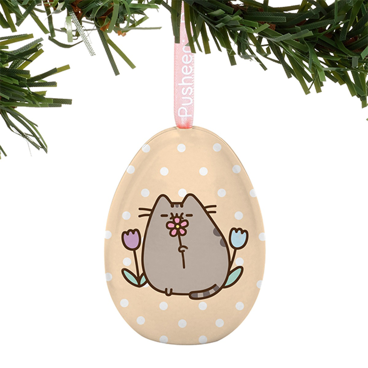 Pusheen: Tin Egg Ornament - May Flowers image