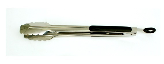 Heavy Duty Stainless Steel Tongs with Rubber Grip