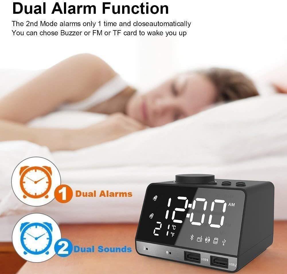 "Alarm Clock with USB Charger, 4.2"" LED Digital Alarm Clock with FM Radio, Bluetooth Speaker image"