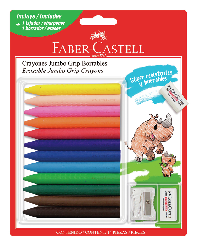 Faber-Castell: Jumbo Grip Crayons - Pack of 12 with Sharpener and Eraser