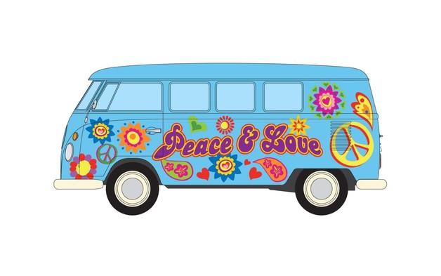 "Corgi: 1/43 VW Camper ""Peace, Love and Freedom"""