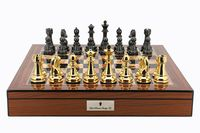 "Dal Rossi: Gold/Titanium - 20"" Chess Set (Walnut Finish)"