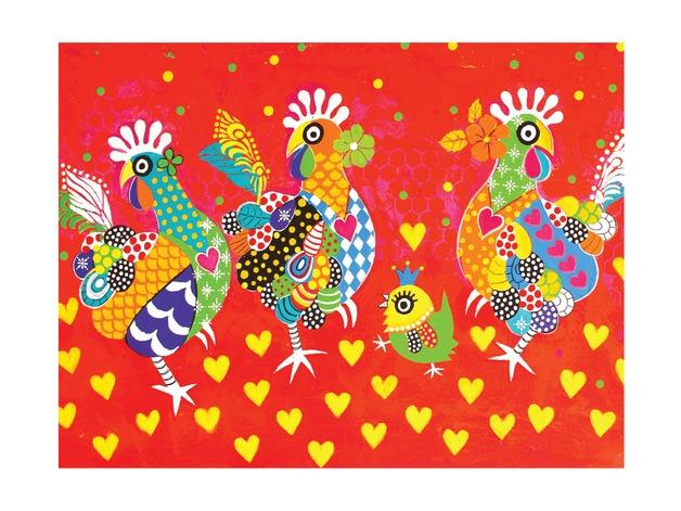 Maxwell & Williams: Love Hearts Tea Towel - Chicken Dance