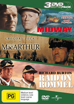 Midway / MacArthur / Raid On Rommel - 3 DVD Movie Pack (3 Disc Set) on DVD