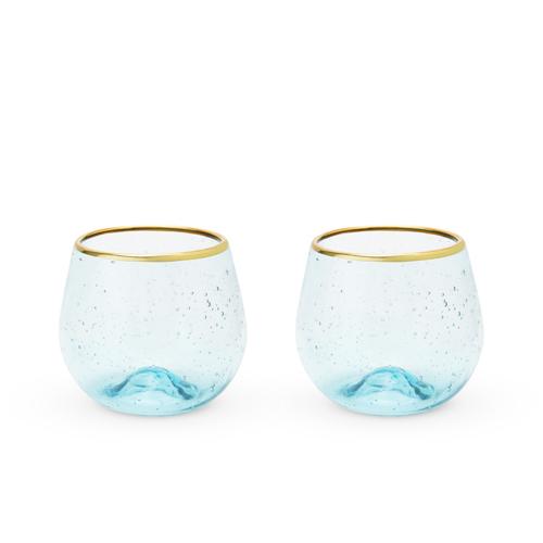 Twine: Seaside - Aqua Bubble Stemless Wine Glass Set