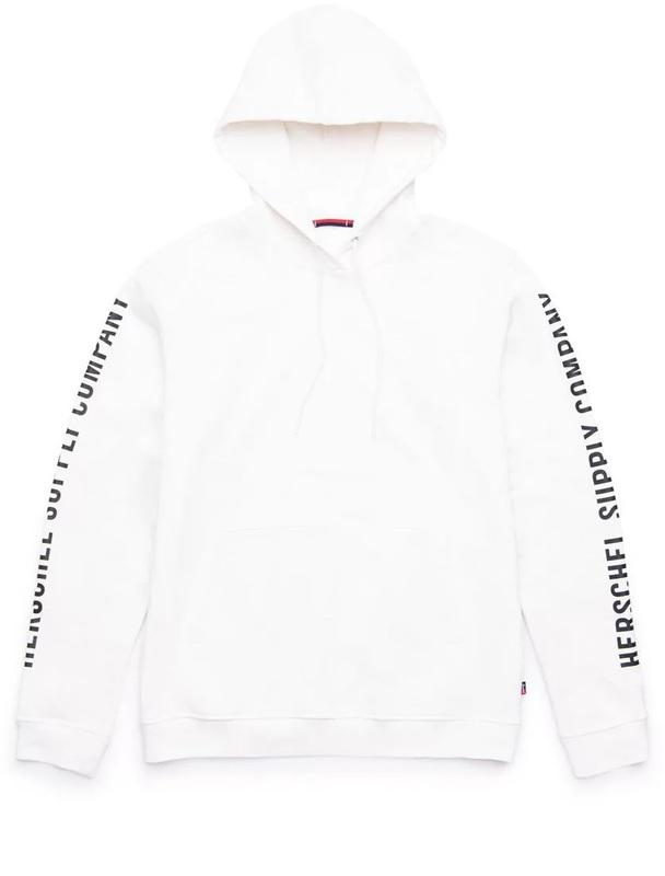 Herschel Supply Co: Men's Pullover Hoodie Medium - Sleeve Print Blanc de Blanc/Black