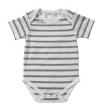 Babu: Envelope Neck Short Sleeve Bodysuit - Grey Striped (0-3 months)