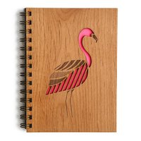 Cardtorial Wooden Journal - Flamingo