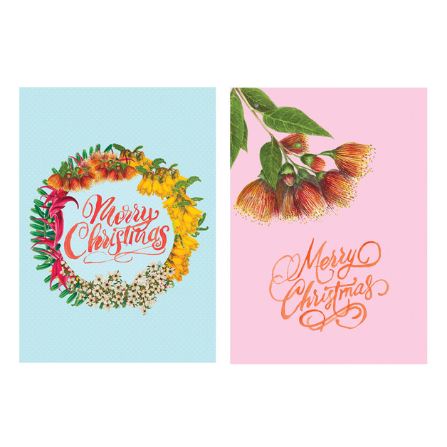 Pure NZ Christmas Cards - Blue/Pink Xmas (Pack of 8)