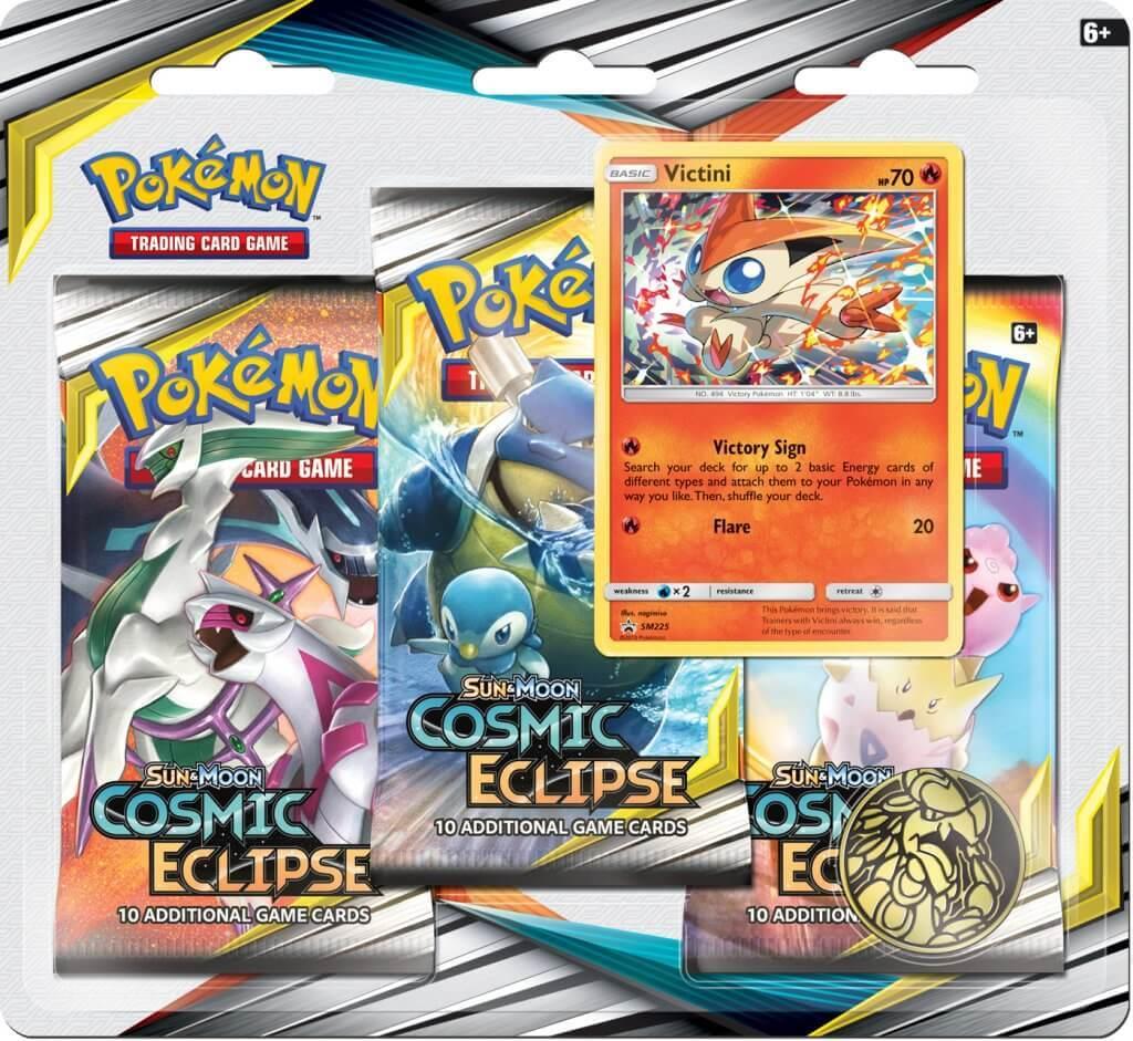 Pokemon TCG: Cosmic Eclipse Three Booster Blister- Victini image