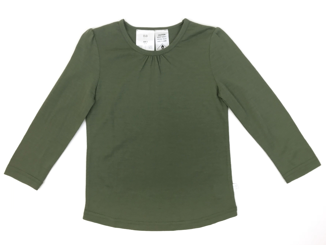 Babu: Merino Ruffle Long Sleeve T-Shirt - Khaki (1 Year) image