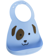 Make My Day: Silicon Baby Bib - Dog Blue & Brown