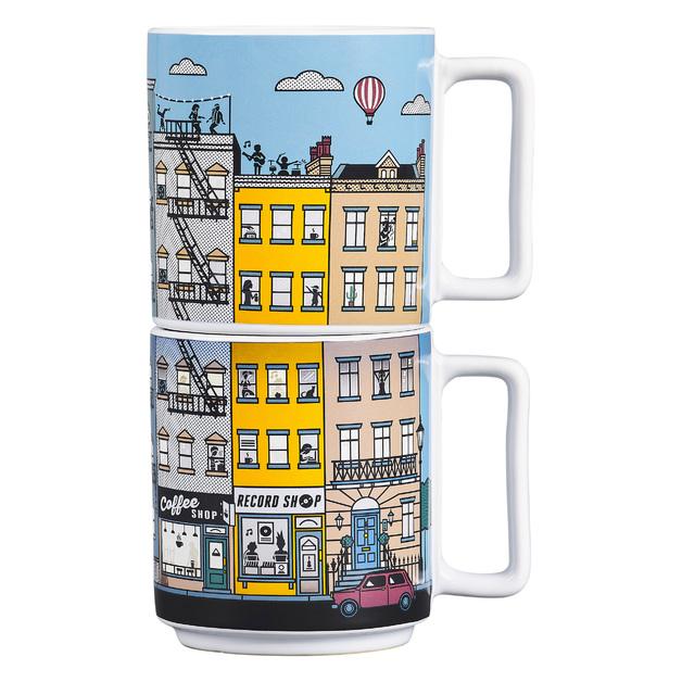 Heat Sensitive Stacking City Mugs