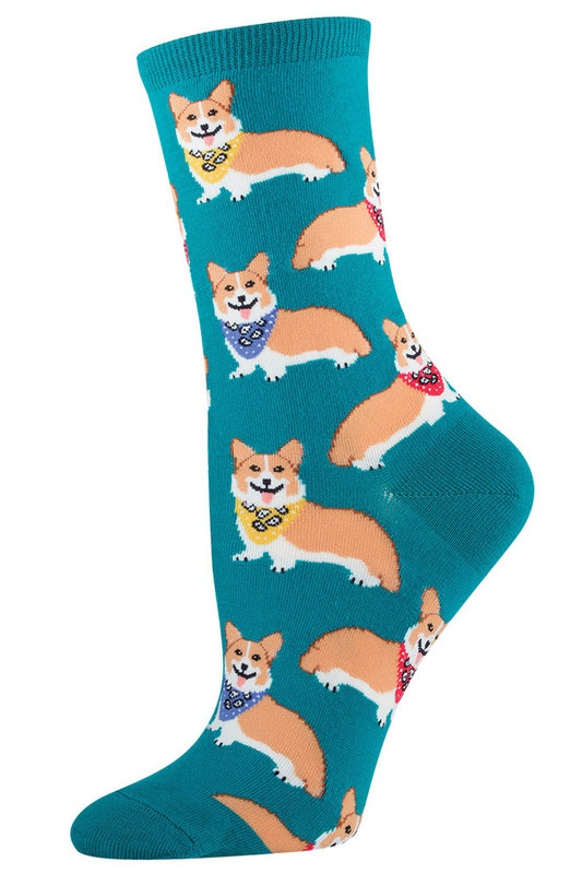Socksmith: Womens Corgis Crew Socks - Emerald