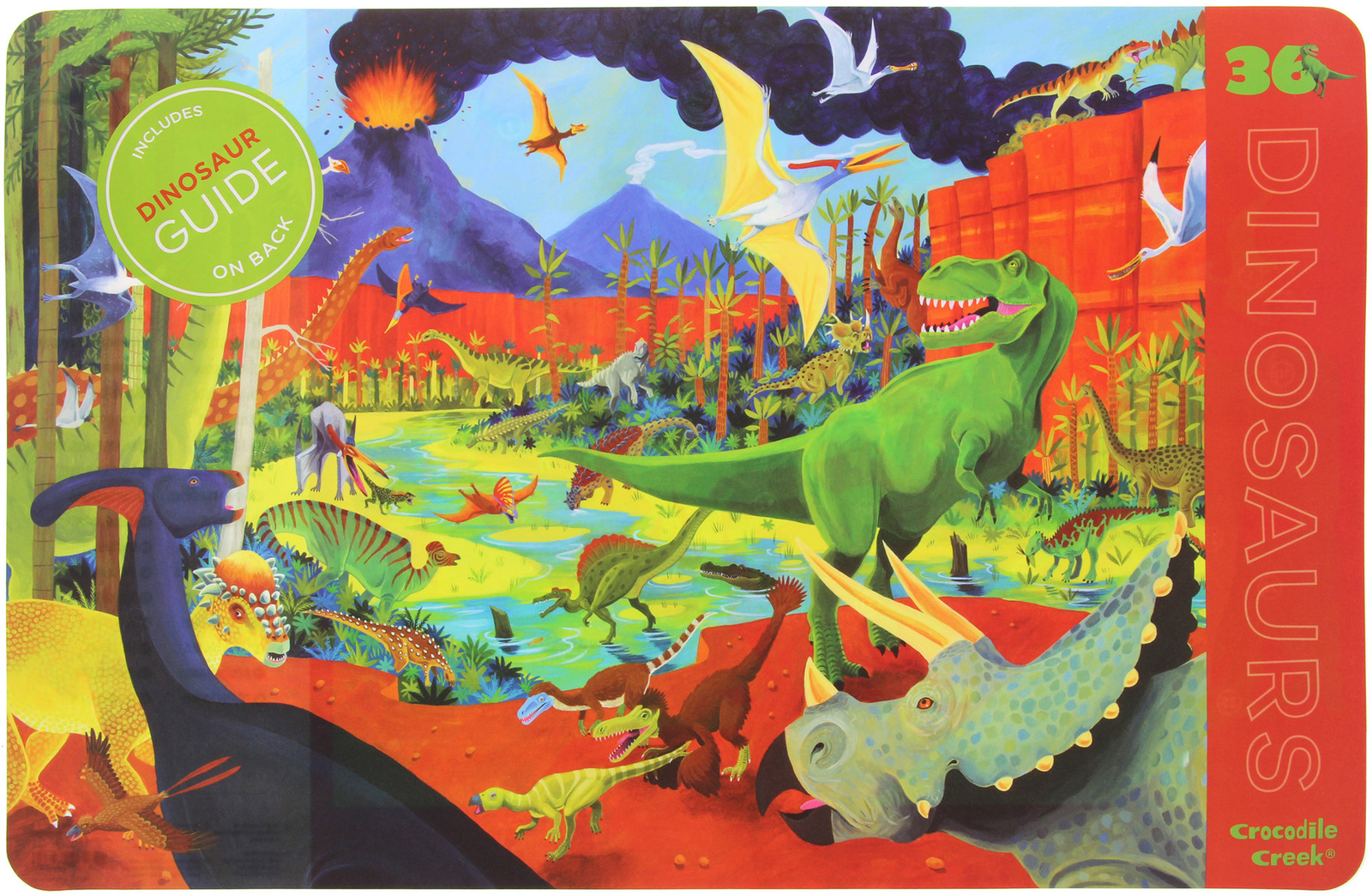 Crocodile Creek 2-Sided Placemat - Dinosaurs image