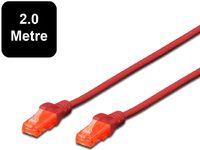 2m Digitus UTP Cat6 Network Cable - Red image