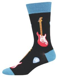 Socksmith: Men's Electric Guitars Crew Socks - Black