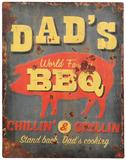 'Dad's BBQ' Embossed Metal Plaque - 40x30cm