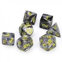 Chessex: Polyhedral 7-Die Set - Vortex Black with Yellow