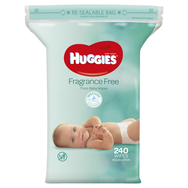 Huggies Baby Wipes - Unscented Wipes Jumbo Pack (240 Wipes)