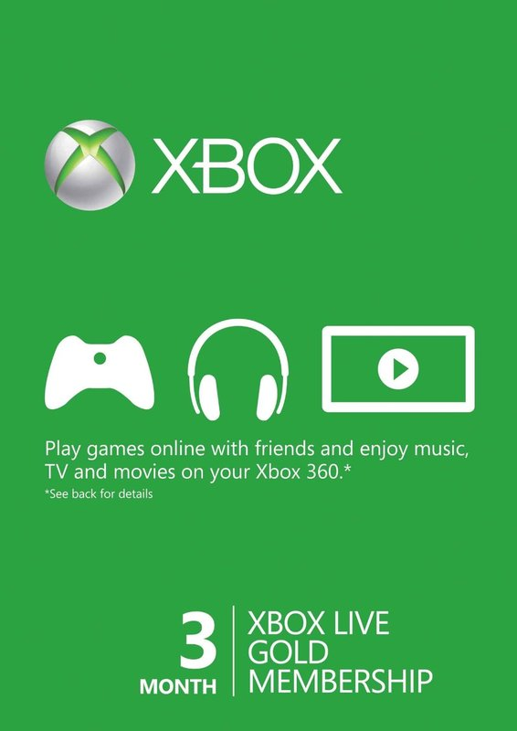 Xbox LIVE 3 Month Gold Membership Card for