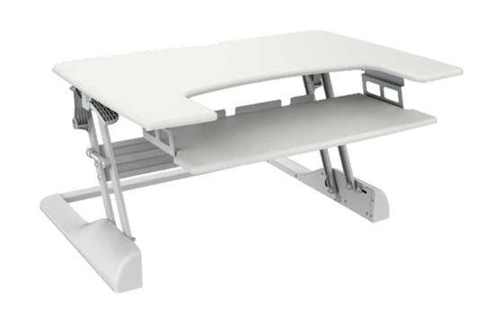 BRATECK: Sit-Stand Desktop Workstation Stand. Spring-assistedlift mechanism. Height adjustable130mm~500mm. Load capacity 15kgs.
