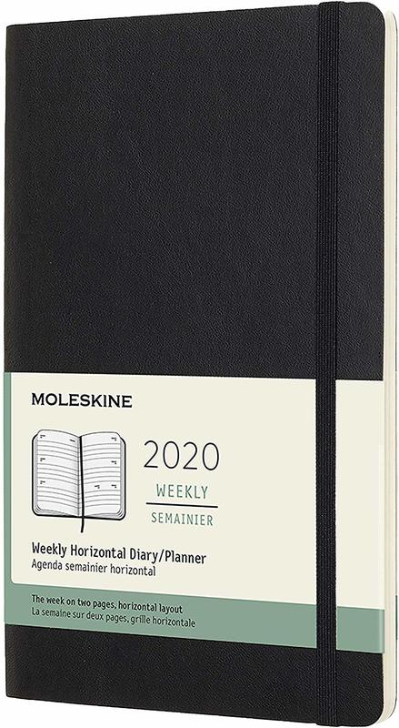 Moleskine: 2020 Diary Large Soft Cover 12 Month Horizontal Weekly - Black