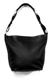Urban Forest: Lotus Leather Handbag - Black image