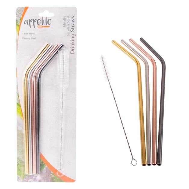 Appetito: Stainless Steel Bent Drinking Straws - Metallic (Set of 4 With Brush)