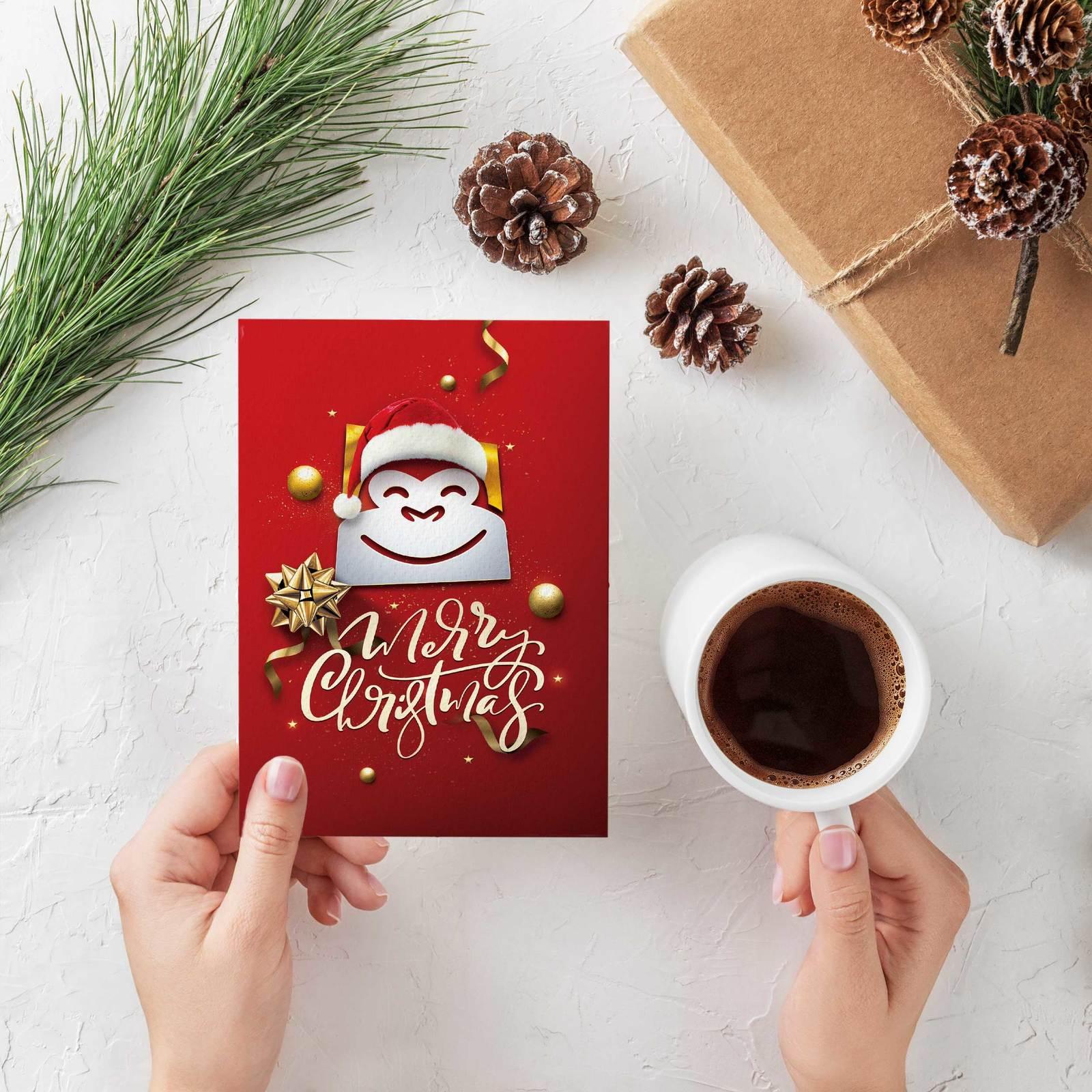 Gorilla Gift: Christmas Cards - Santa Hat (Pack of 10) image