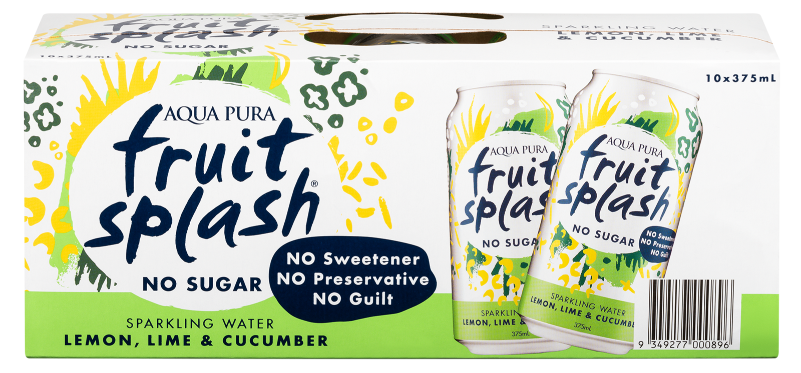 Aqua Pura Fruit Splash Lemon, Lime & Cucumber 375ml 10pk image