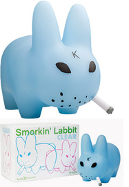 "Smorkin' Labbit 10"" Clear Blue Vinyl Figure - Frank Kozik"