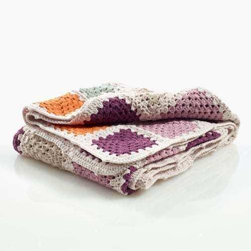 Pebble: Organic Crochet Square Granny Blanket - Soft Purple