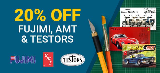 20% off AMT, Fujimi and Testors!