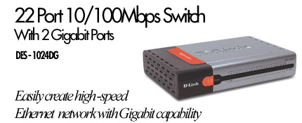 D-Link DES-1024DG, 22 PORT 10/100 AND 2 PORT 1000T SWITCH image