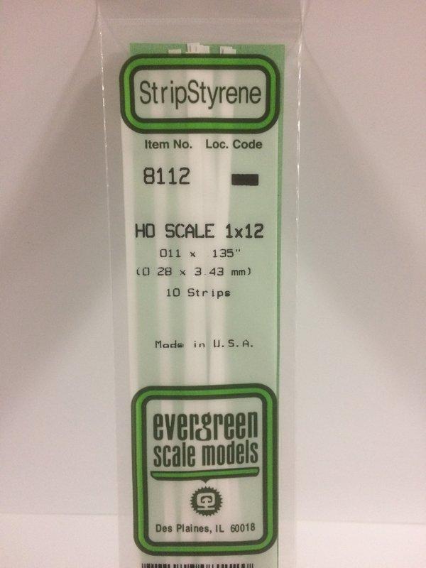 Evergreen Styrene Ho Scale Styrene Strip 1X12 (10)