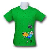 Adventure Time Kelly Green Grass Scene Men's T-Shirt (XXL)