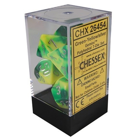 Chessex Gemini Polyhedral Dice Set Green-Yellow/White