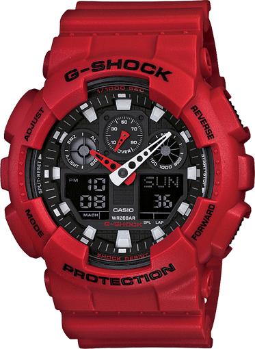 Casio G-Shock Analogue/Digital Mens XL Series Red Watch GA-100B-4A