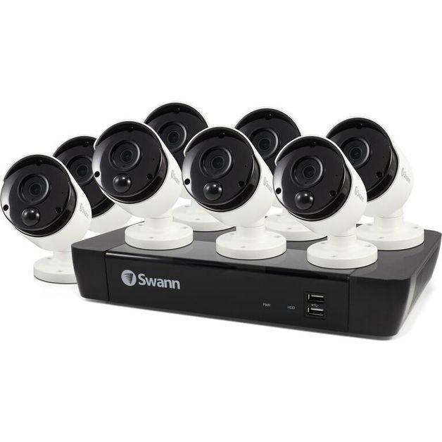 Swann: True Detect White Bullet Cameras w Audio - NVR8-8580 4K Capable / 2TB / 8 x NHD-885MSB 4K